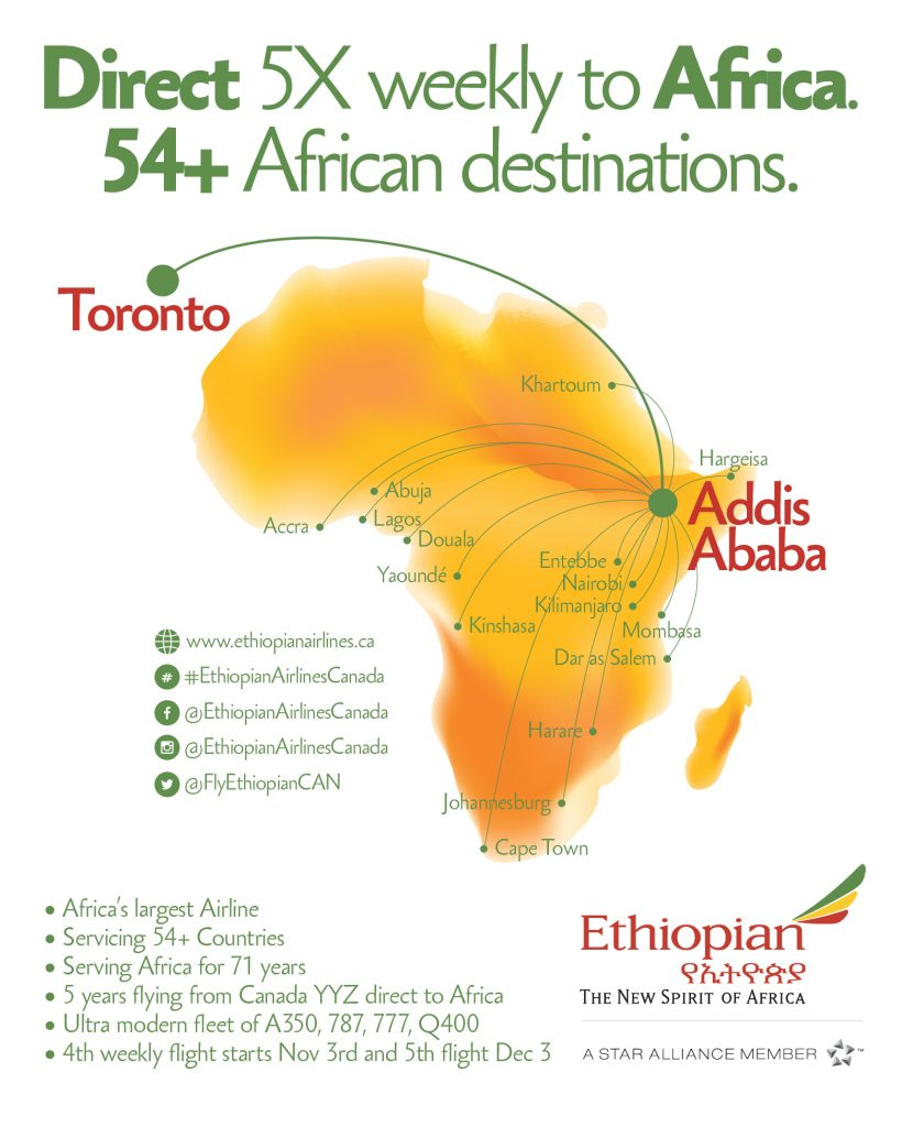 Direct 5x weekly flights to Africa from Toronto