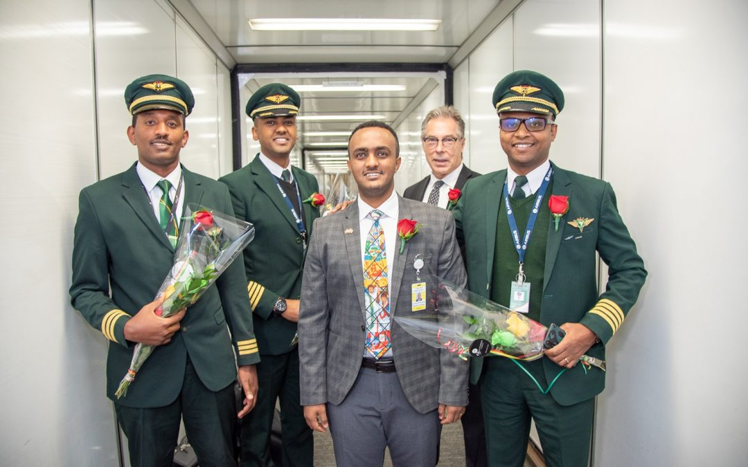 Celebrating Ethiopian Airlines first historic Airbus A350 arrival in Toronto